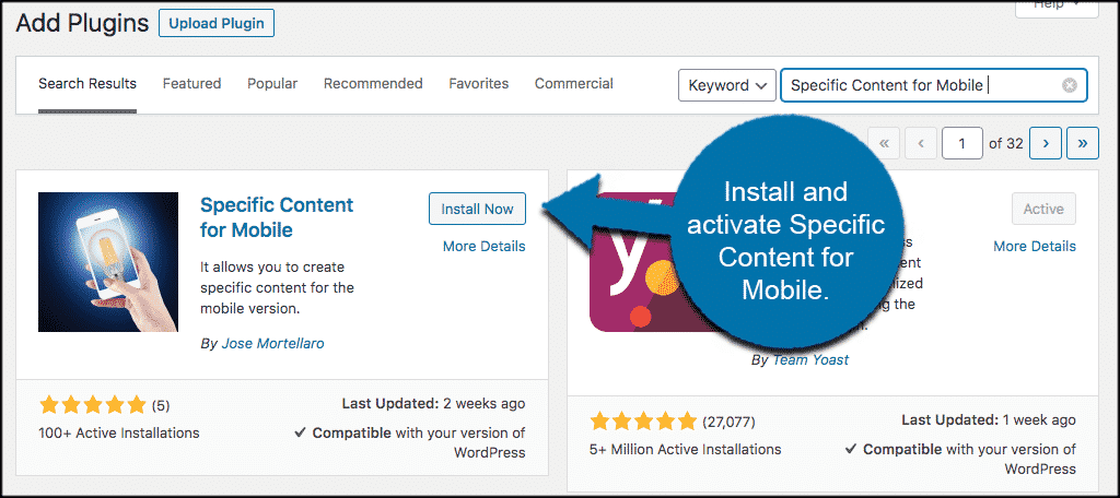 Install and activate specific content for wordpress plugin