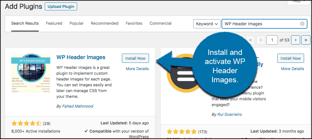 INstall and activate wordpress header image plugin