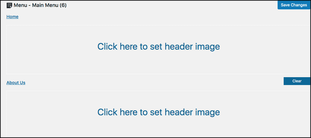 Upload wordpress header image here