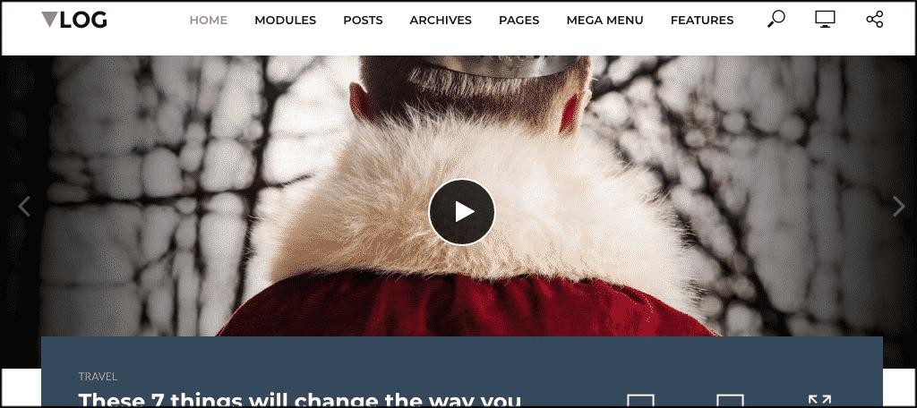 Vlog theme for live stream websites