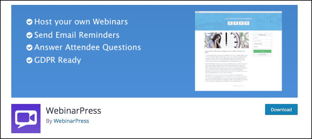 WebinarPress plugin for live stream websites