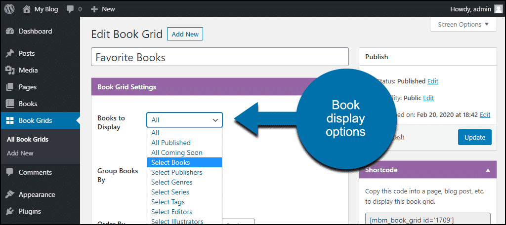 book grid options