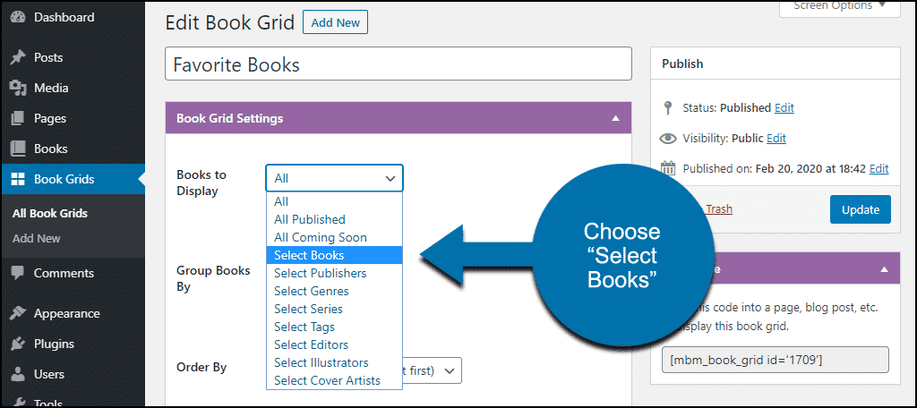 book grid options select books