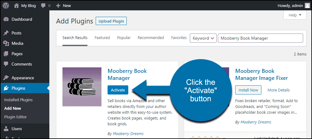 click to activate the WordPress Mooberry Book Manager plugin