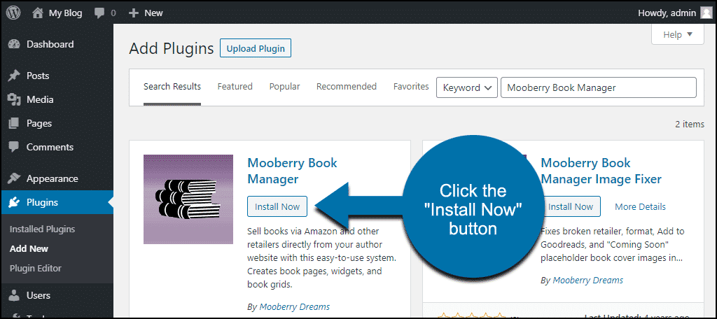 click to install the WordPress Mooberry Book Manager plugin