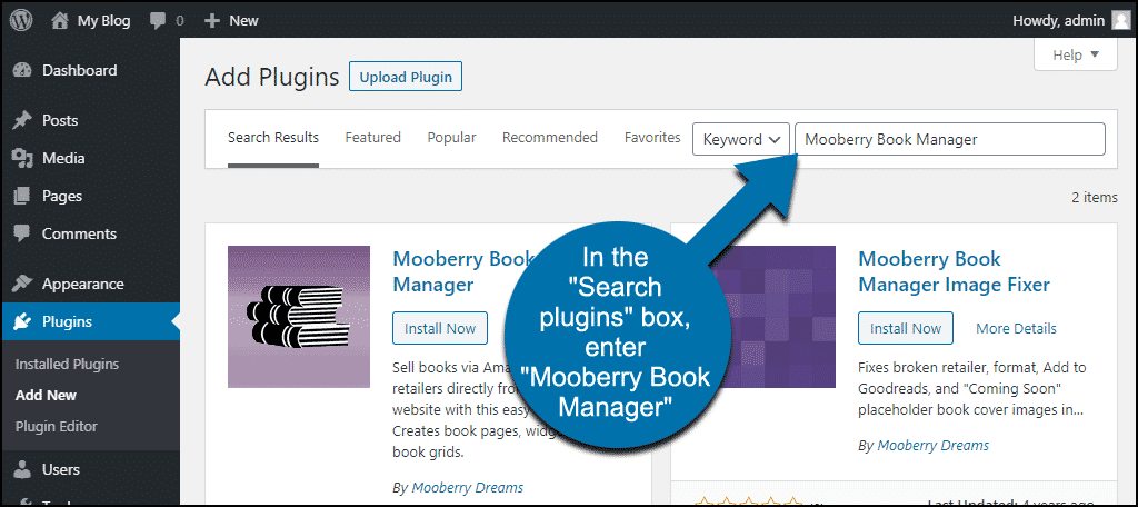 search for the WordPress Mooberry Book Manager plugin
