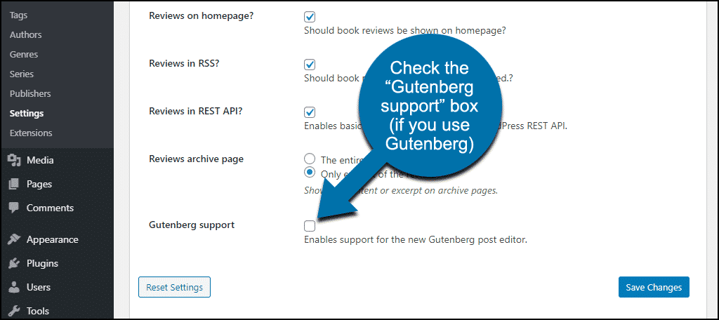 "check the ""Gutenberg support"" box"