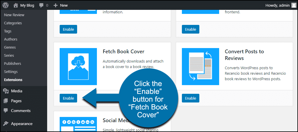 """click the """"Enable"""" button for the """"Fetch Book Cover"""" extension"""
