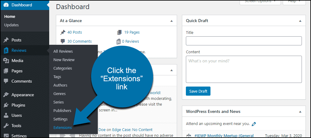"""click the """"Extensions"""" link"""