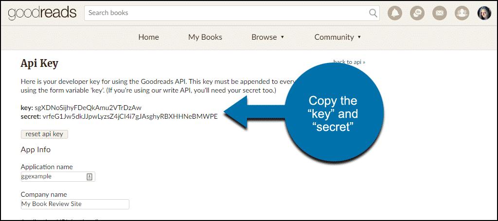 Goodreads API key and secret