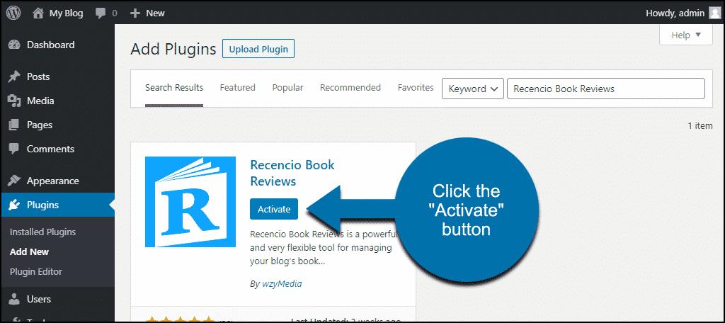 click to activate the WordPress Recencio Book Reviews plugin
