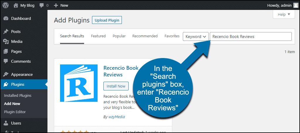 search for the WordPress Recencio Book Reviews plugin