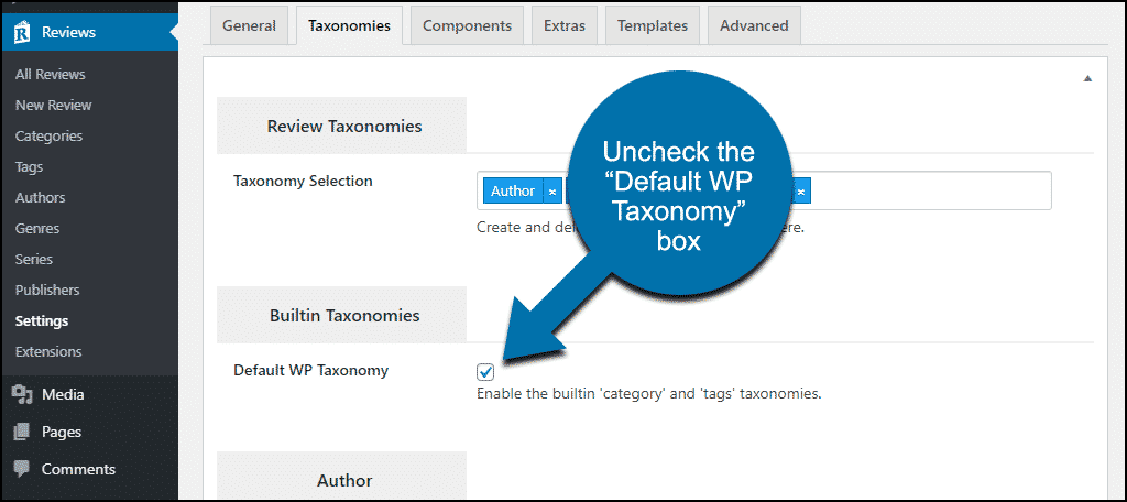 uncheck builtin categories and tags