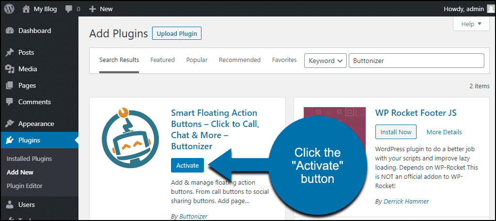 click to activate the WordPress Buttonizer plugin