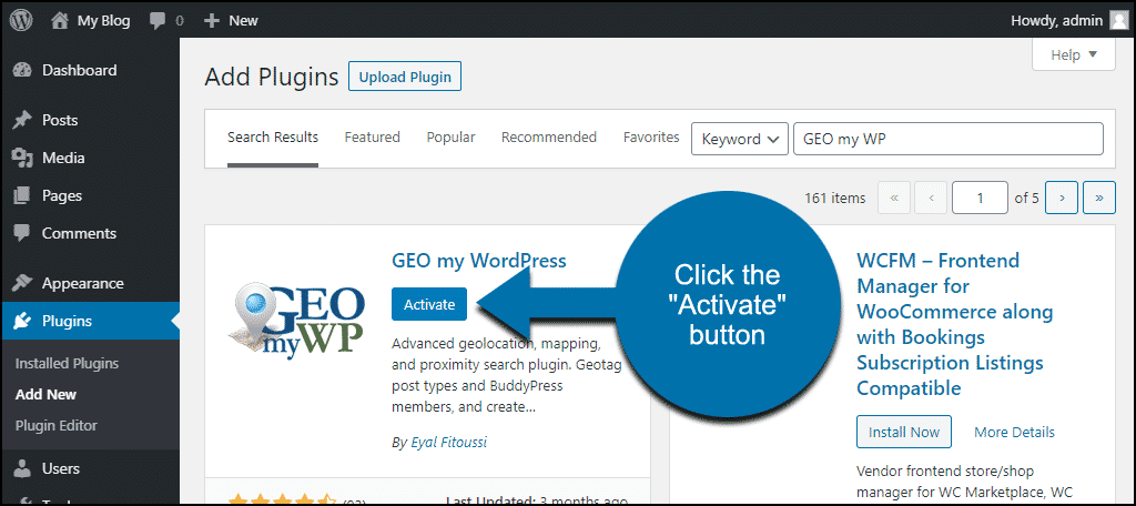 click to activate the WordPress GEO my WordPress plugin