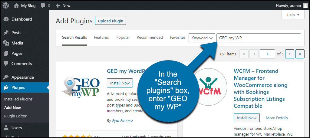 search for the WordPress GEO my WordPress plugin