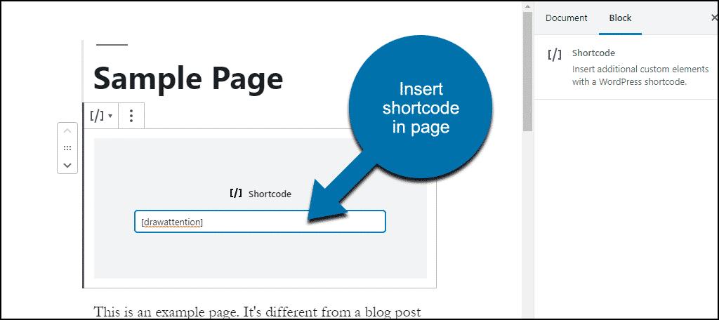 inserting shortcode