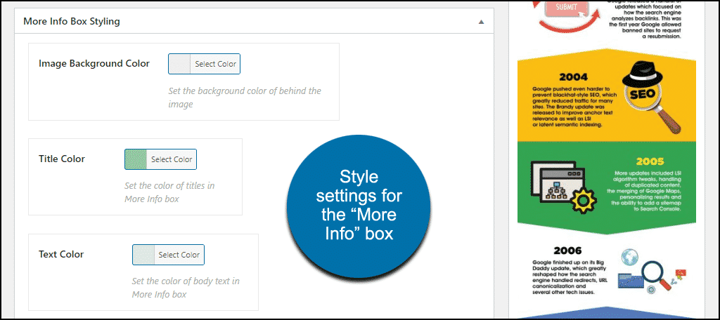 """More Info Box Styling"" section"