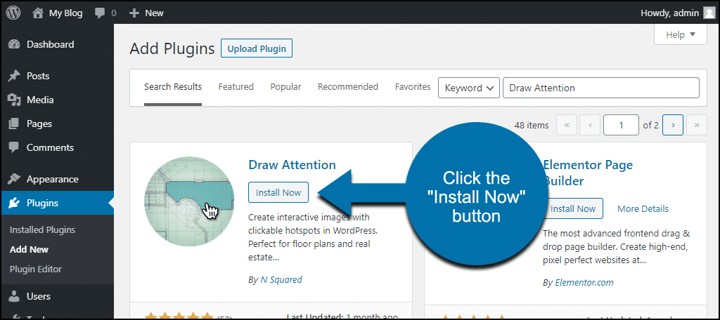 click to install the WordPress Draw Attention plugin