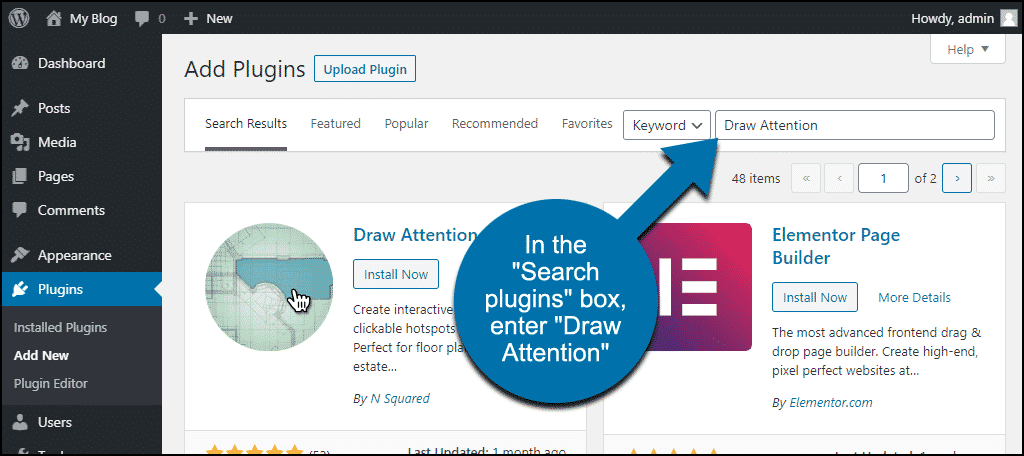 search for the WordPress Draw Attention plugin