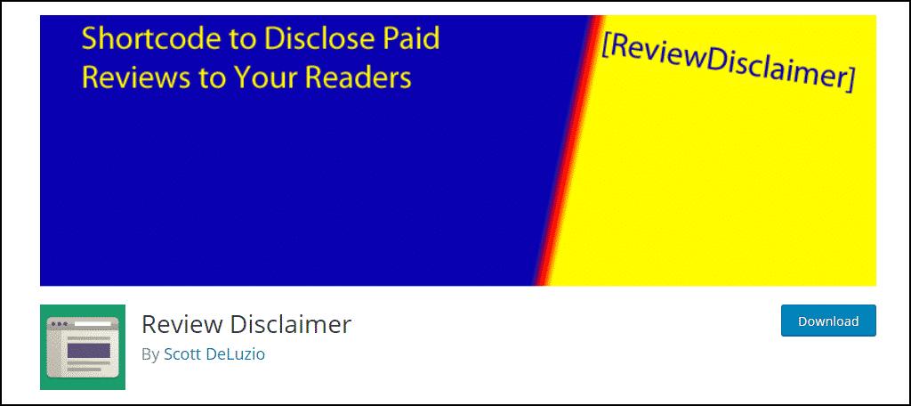 Review Disclaimer WordPress plugin