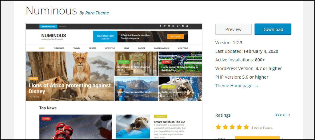 Numinous WordPress theme