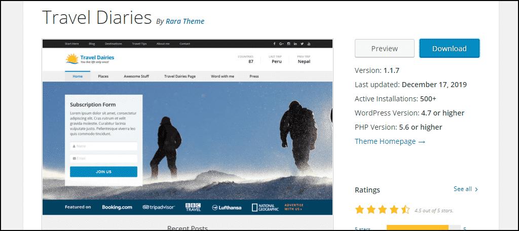Travel Diaries WordPress theme