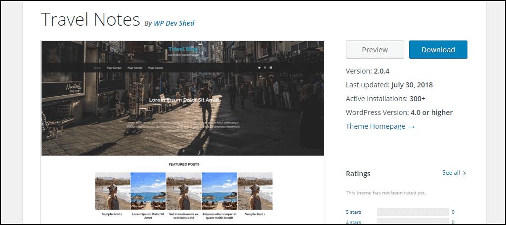 Travel Notes WordPress theme