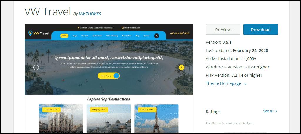 VW Travel WordPress theme