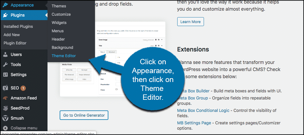 Click on appearance and click on theme editor