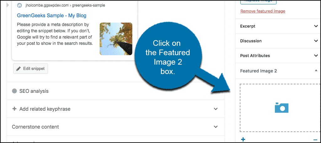 Click on dynamic featured image 2 box