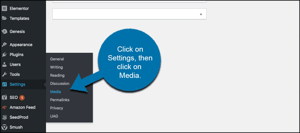Click on settings then media to change image sizes