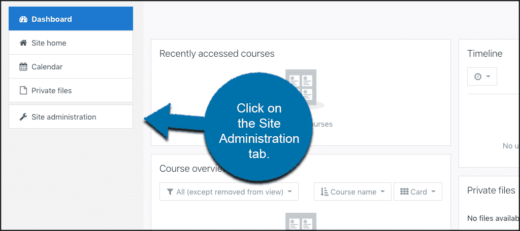 Click site admin tab