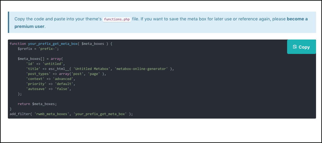 Copy code from custom meta box plugin