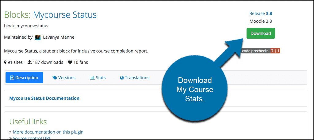 Download moodle course stats plugin