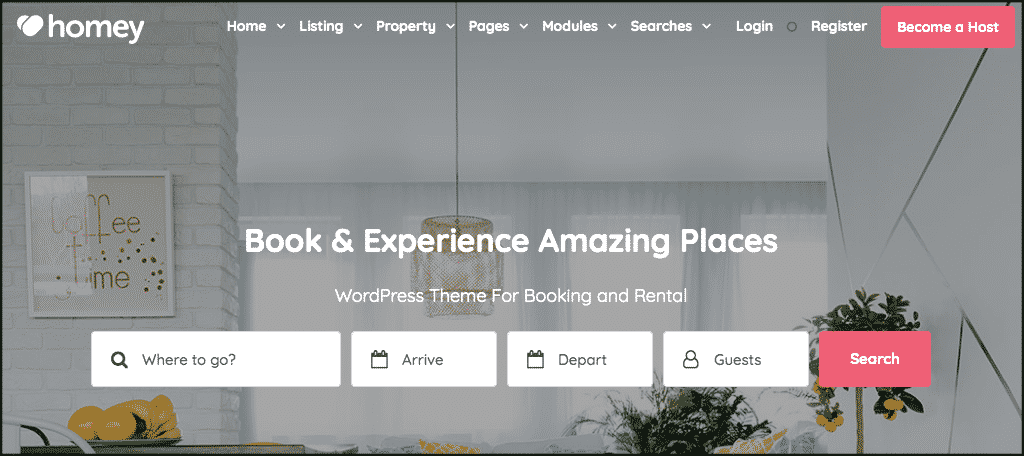 Homey theme for booking website