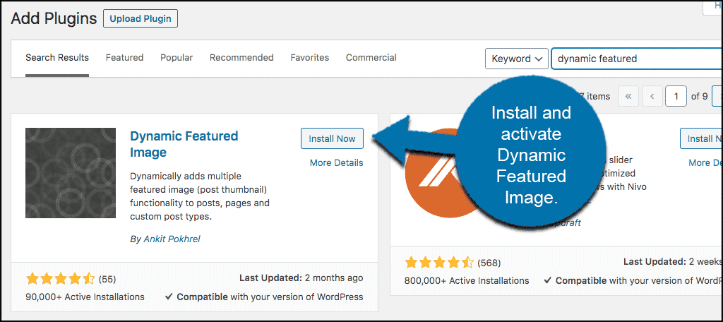 Install and activate Dynamic Featured Image
