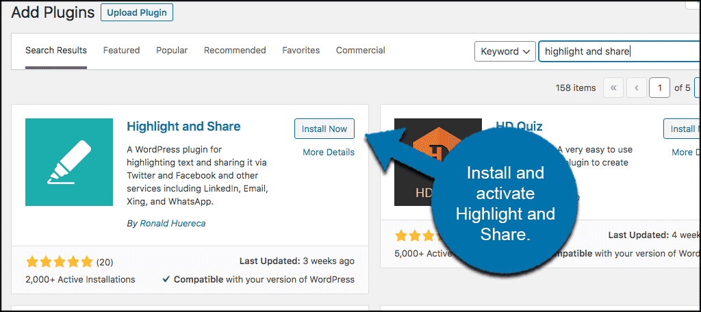 Install highlight and share plugin