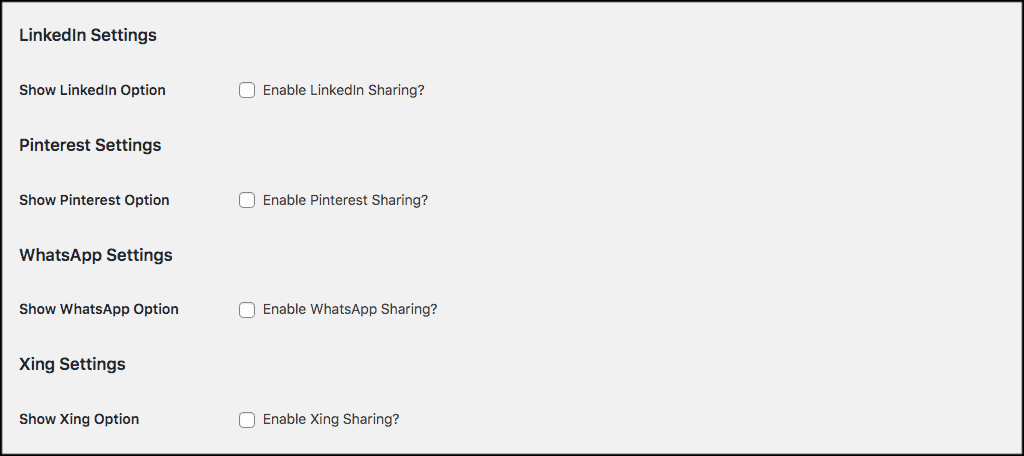 LinkedIn and Pinterest settings