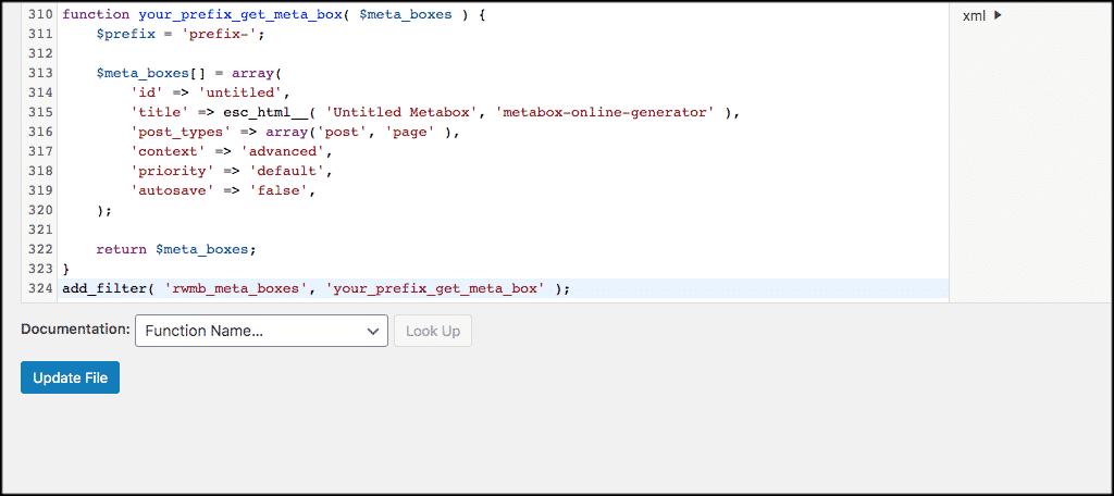 Paste code for custom meta box