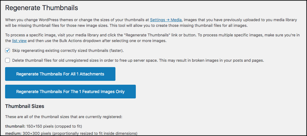 Regenerate image sizes settings