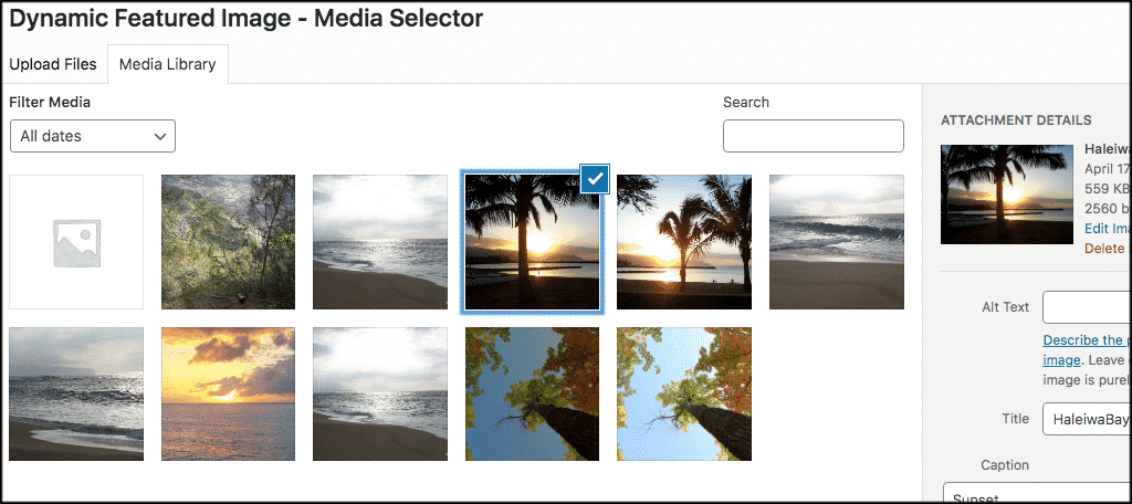 lect dynamic featured image from media library