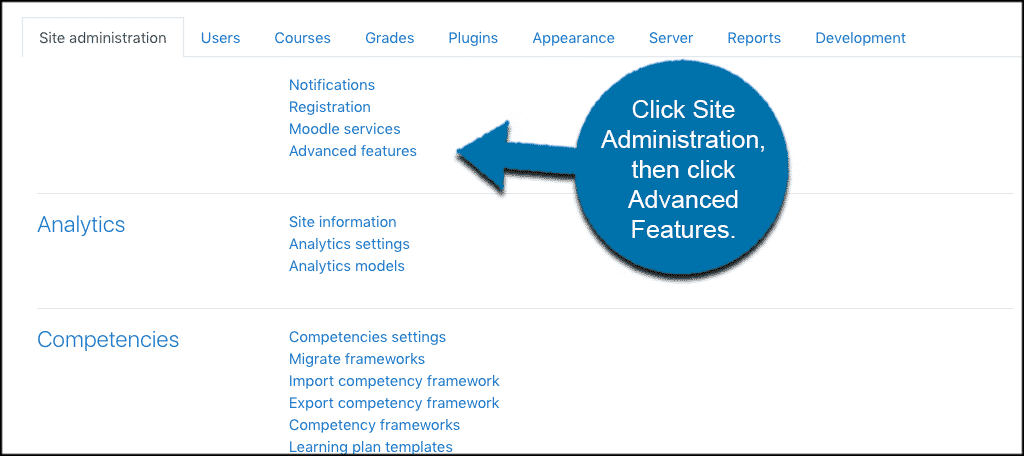 Site admin then advanced features