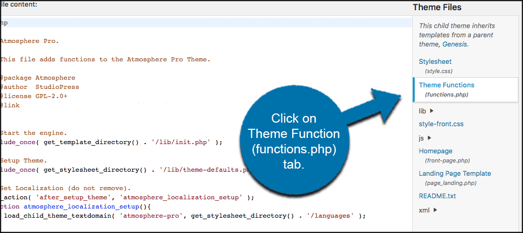 Click on the functions.php file