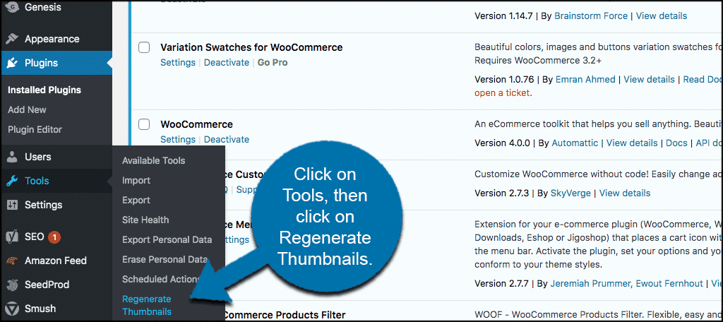 Click tools then regenerate thumbnails