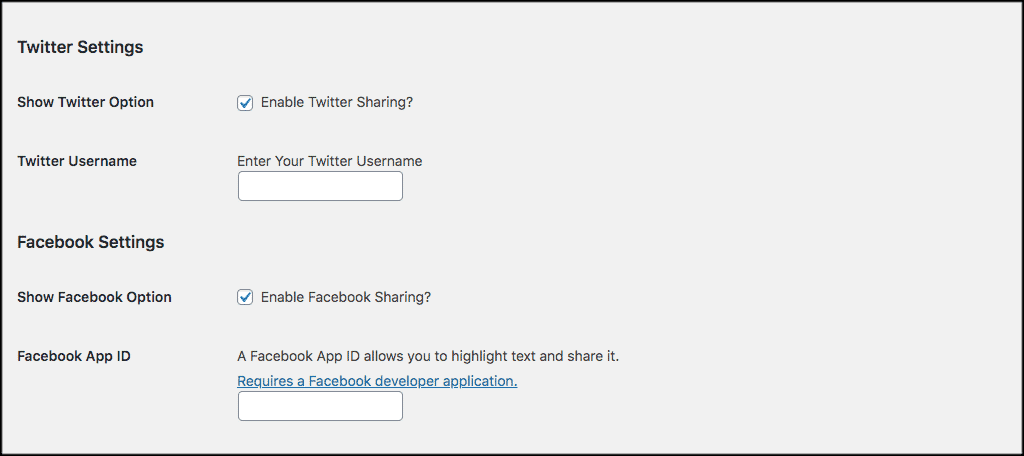 Twitter and facebook settings