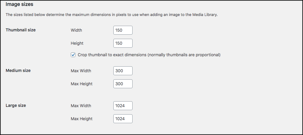 Default wordpress image sizes