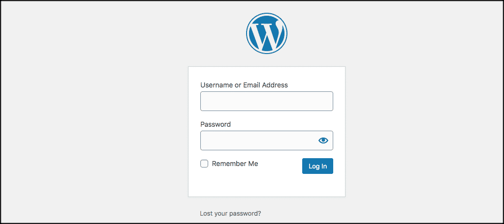 WordPress login scren