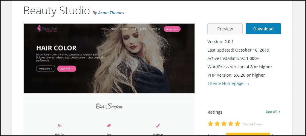 Beauty Studio WordPress theme