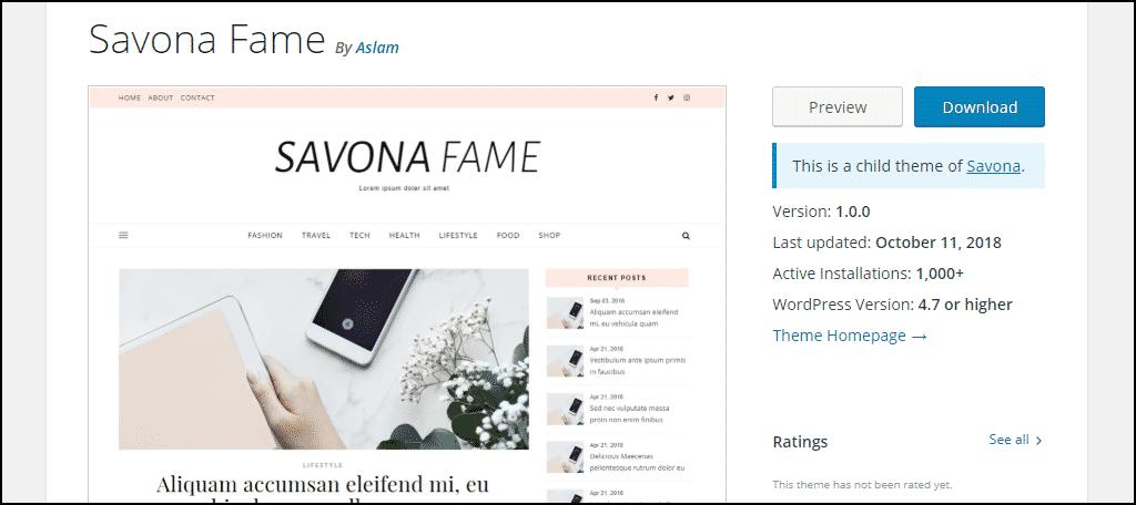 Savona Fame WordPress theme
